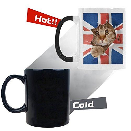 InterestPrint Kitchen & Dining Union Jack Funny Cat Morphing Mug Heat Sensitive Color Changing Mug Ceramic Coffee Mug Cup-White-11 oz-Union Jack UK Flag United Kingdom British England Funny Cat (Flag Colors Coffee Mugs)