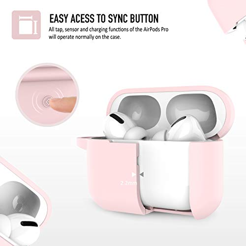 Coffea AirPods Pro Case with Keychain, AirPods 3 Protective Cover Silicone Case for AirPods Pro Charging Case (Front LED Visible) (Sakura Pink)