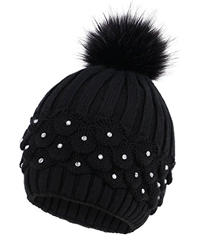 Arctic Paw Cable Knit Beanie with Sequins and Faux Fur Pompom, Black