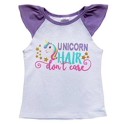 (So Sydney Toddler & Girls Summer Raglan Flutter Sleeve Novelty T-Shirt (XS (2T), Unicorn Hair))