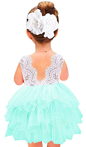 2Bunnies Girl Baby Girl Beaded Lace Back Flower Girl Birthday Party Tutu Tulle Dress (Mint Green Sleeveless, 5T)