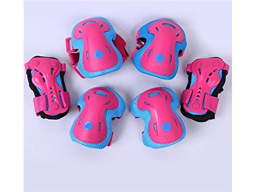 Wetietir Skating 6 Pcs/Set Kid's Protective Gear Set Elbow Knee Handguard Roller Skating Skateboard BMX Scooter Cycling (Blue Pink S) Protection by Wetietir