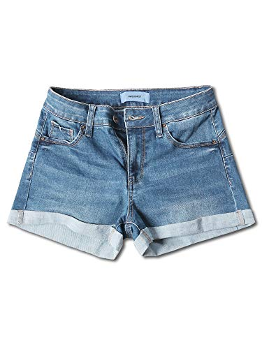 Awesome21 Casual Push-up Roll-up Cuff High-Rise Denim Shorts Light S ()