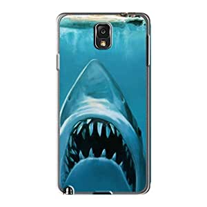 Shock-Absorbing Hard Cell-phone Cases For Samsung Galaxy Note 3 With Support Your Personal Customized Stylish Water Concept Funny Sharks Swimming Jaws Skin DeanHubley
