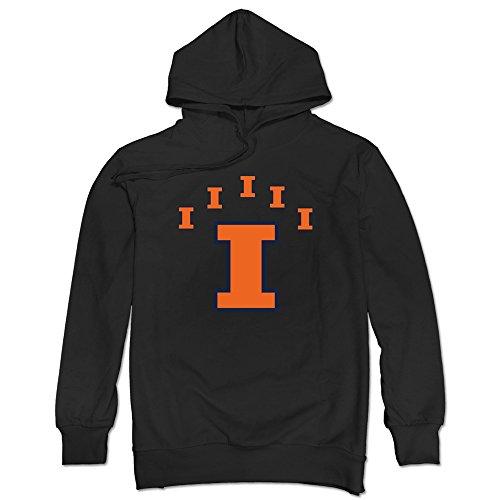 Sasha Men's Illinois Fighting Illini Logo Hooded Sweatshirt Black S