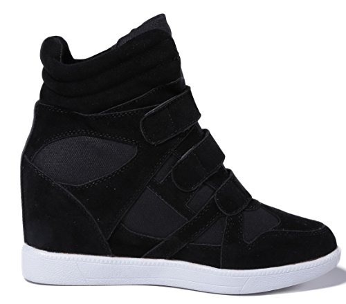 D2c Beauty Womens Velcro Lace Up Ronde Neus Suede Wedge Sneakers Zwart Suède