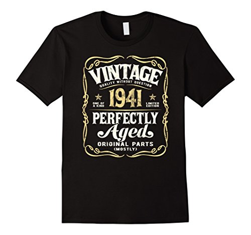 Mens Vintage Made In 1941 T-Shirt 76th Birthday Gift XL Black