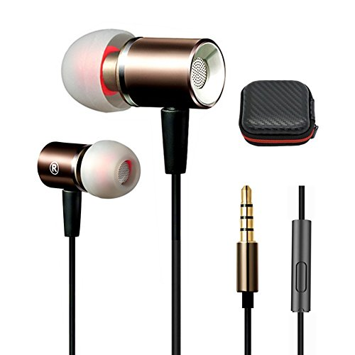 Metal Extra Bass Stereo Earbuds with Mic and Wired In Ear Headphones Ear Buds with Microphone,Corded Earphones for iPhone Android iPad Galaxy Cord Headsets for Man,Women,Kid,Girls-(Black+Gold)Jeselry