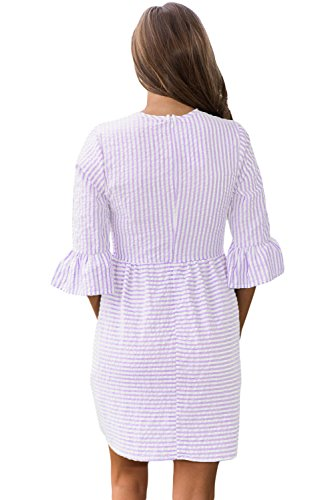 Mini HOTAPEI 4 Fit Sundresses Women's Sleeve Purple 3 Flare and Dress Summer Casual Striped wwTzxUqA