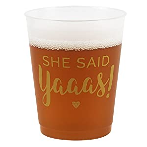 """""""She Said Yaaas"""" Bridal Party Cups for Engagement, Bachelorette or Bridal Showers (16 cups) from bachelorette.games"""