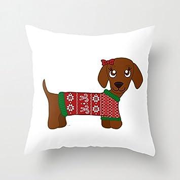 Jersey de Navidad de perro salchicha marrón funda de almohada sintética patrón geometría de lino funda de almohada fundas de cojín con cremallera Invisible ...