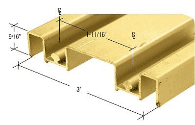 "Cr Laurence Mirror Door Track, Brite Gold Anodized, 3"" De..."