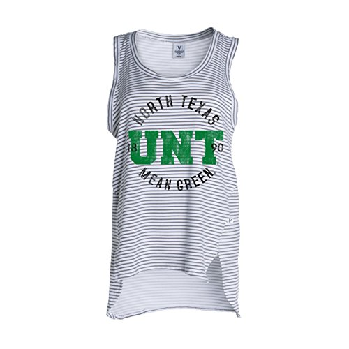 Official NCAA University of North Texas Mean Green UNT Women's Stripe Ath Lesiure Tank Top