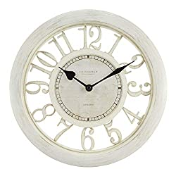 Equity by La Crosse 20857 11.5 Delaney Floating Dial Quartz Clock, Antique White