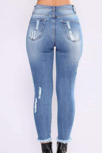 Vaqueros Casual Modernas De Las Mujeres Mezclilla Pantalones Fit Lápiz Flaco Con Slim Blau Haidean Botón Bolsillos Acogedor Largos Estiramiento Volantes zqv45wttn