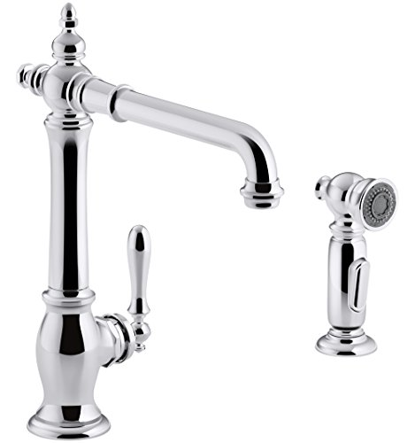 KOHLER K-99265-CP Artifacts Single-Hole Kitchen Sink Faucet with 13-1/2 In. Swing Spout, Two-Function Sidespray, and Victorian Spout Design, Polished Chrome