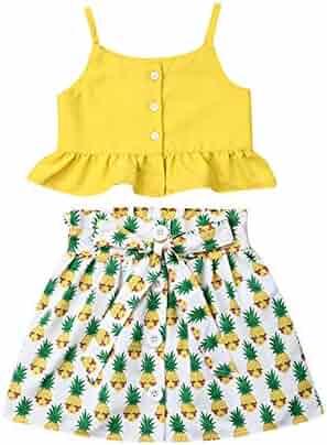 9c1e9cad737f Toddler Kids Baby Girls Ruffle Strap Tank Top+Boho Floral Skirt Outfit  Irregular Dress Set