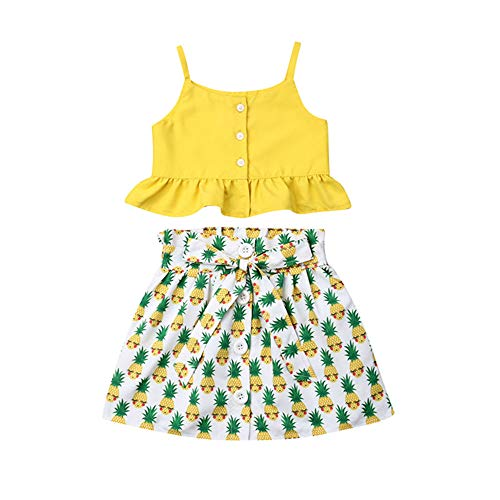 (DuAnyozu Toddler Baby Girls Ruffle Strappy Tank Top+Pineapple Skirt Outfit Dress Set Summer Clothes (Pineapple, 6-12 Months))