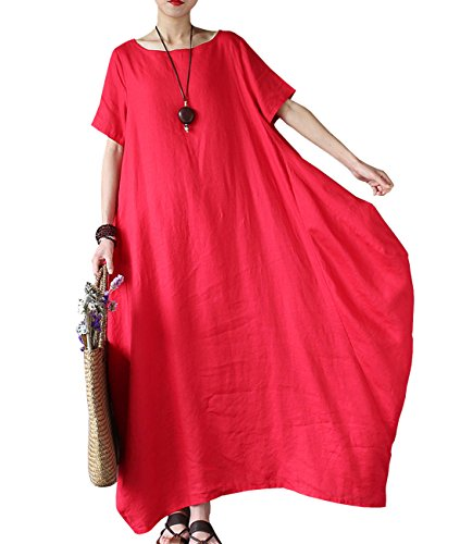 YESNO J00 Women Long Maxi Baggy Dress 100% Linen Casual Crew Neck Long Sleeve/Pockets (Typ2 Red, - Linen Red