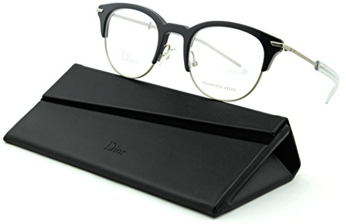 Christian Dior 0202 Unisex Eyeglasses Black Matte Palladium Frame (0G6N) ()