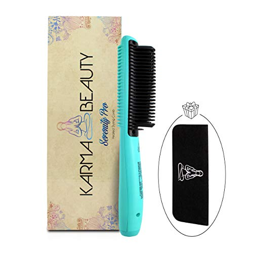 Straightening comb | Anti - Scald straightener brush | Ceramic Heating | Great for African American Hair | Auto Shut Off | Create Straight & Curl | Incl Heat Mat Case | Karma Beauty | (Turquoise)