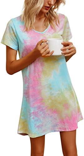 Banamic Womens Nightgowns Short Sleeve Sleepwear Night Dress Cute Nightgowns