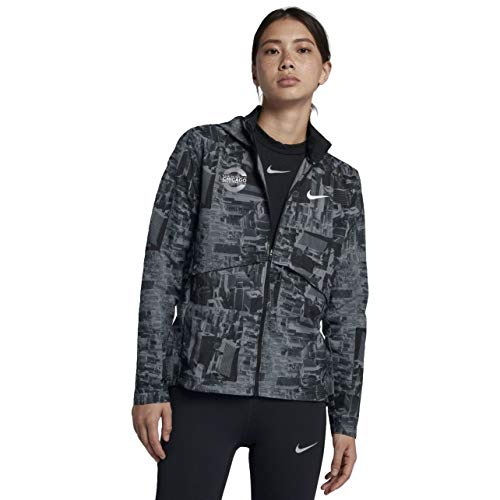 Nike Womens Marathon - Nike Essential Chicago Marathon 2018 Women's Running Jacket (Black, Medium)