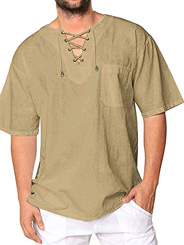 Mens Cotton T Shirt Casual Beach Hippie Yoga Tees Plain Drawstring Lace-up Short Sleeve Tops