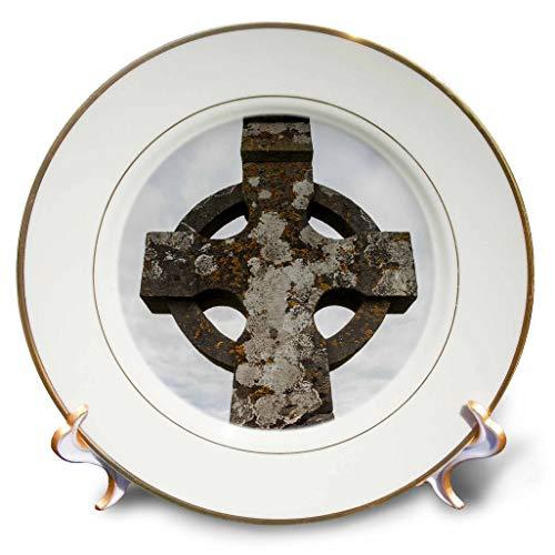 3dRose Danita Delimont - Religion - Ireland, County Tipperary, Cashel, Rock of Cashel, Celtic Cross - 8 inch Porcelain Plate (cp_313679_1)