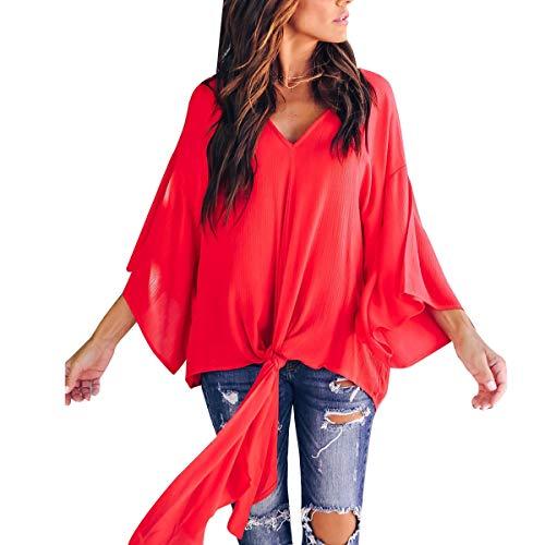 V Jahurto Encolure T Femmes Shirt Mousseline pour Red en en nvqgp6vw