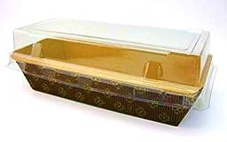 Rectangular Paper Loaf Pan Molds Medium Size with Lids - 7\'\'x3\'\'x2\'\' - 25pcs