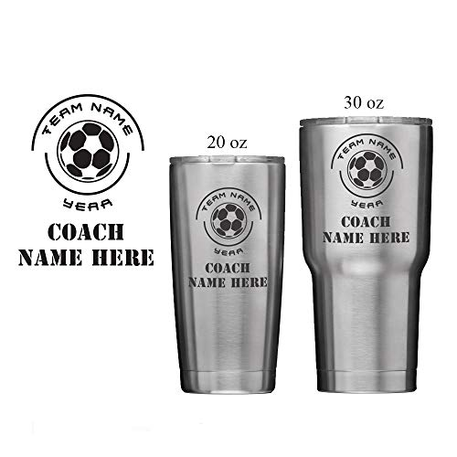 National Etching Soccer Coach Gift - Personalized Insulated Vacuum Sealed Sports Tumbler with Lid - Customized with Team Name, Coach Name, Year (20 -