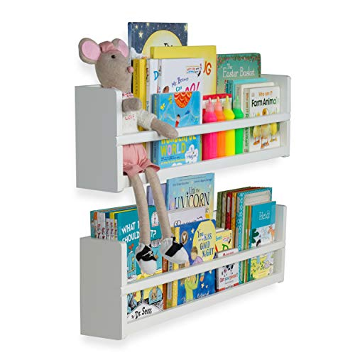 brightmaison Nursery Décor Wall Shelves - 2 Shelf Set - Wood Floating Bookshelves for Baby & Kids Room, Book Organizer Storage Ledge, Display Holder for Toys, CDs, Spice Rack - - Mounted Book Wall Rack
