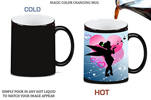 Cute Fairy Silhouette with Pink Hearts Kiss Design Print Image Magic Color Changing Ceramic Coffee Mug Tea Cup by Trendy Accessories (Tinkerbell Silhouette)