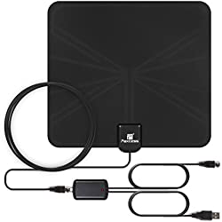 TV Antenna, Paxcess Indoor Amplified HDTV Antenna 50 Miles Range Leaf Antenna with Detachable Amplifier Signal Booster, USB Power Supply, 16.5ft Coax Cable for Digital TV Indoor