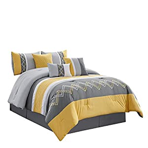 Chezmoi Collection Arden 7-Piece Modern Pleated Stripe Embroidered Zigzag Bedding Comforter Set (King, Yellow/Gray/White…