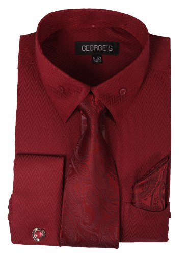 (George's Dress Shirt w/ Matching Tie,Hankie,Cuff & Cufflink AH619-BGD-17-17 1/2 -36-37)