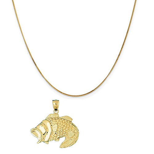14k Yellow Gold Bass Pendant on a 14K Yellow Gold Curb Chain Necklace, 16'' by Eaton Creek Collection
