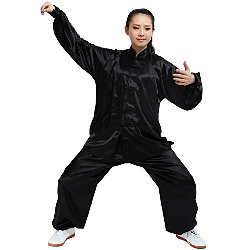 Itopfox Unisex Silk Kung Fu Tai Chi Uniform Breathable Morning Exercise Black XL