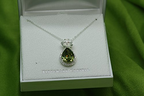 Maureen O'Hara Irish Jewelry Silver Plated Shamrock Pendant By Tipperary Crystal From Ireland ()