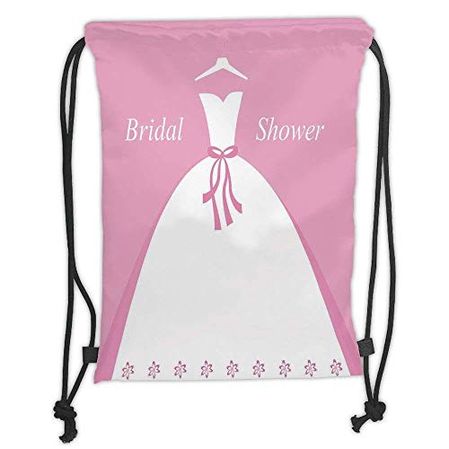 Goloingm Custom Printed Drawstring Backpacks Bags,Bridal Shower Decorations,Bride Party Wedding Dress with Shadow Backdrop Image,Light Pink and White,Adjustable String Closure