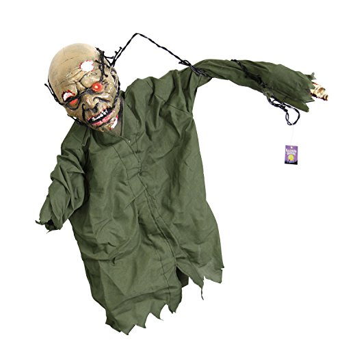 Zombie Decoration (Halloween Haunters Animated Hanging Scary Mangled Barbwire Reaper Zombie Torso Prop Decoration - Moving Arms, Screams, LED Eyes - Battery Operated)
