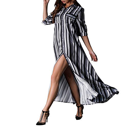 - myodress Women's Boho Half Sleeve Rainbow Striped Front Pocket Button Down Single Breasted Long Maxi Dress