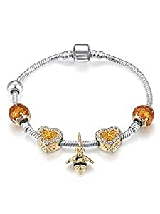 Bee 18K Gold Plated Rhinestone Beaded Adjustable Snake Chain Gold Tone Charm Bracelet Heart Love for Her 18cm