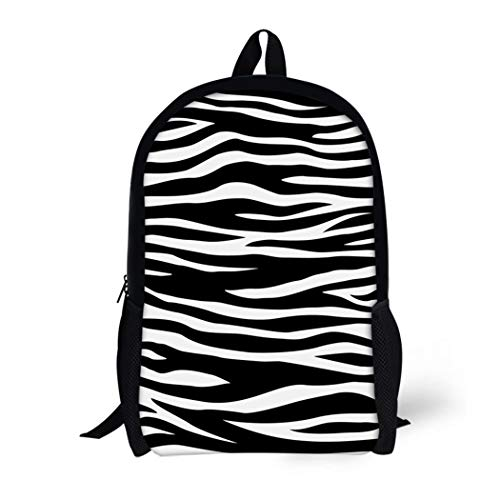 (Pinbeam Backpack Travel Daypack Zebra Animal Skin White Tiger Black and Pattern Waterproof School Bag )