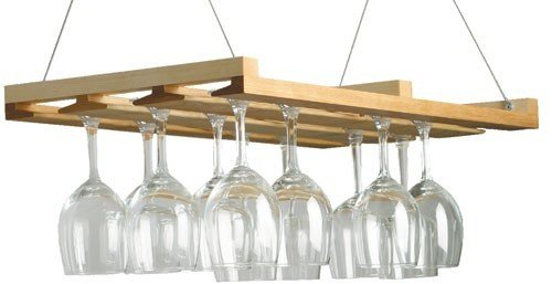 Charlotte Hanging Wooden Wine Glass Rack In Natural Contemporary Home Furniture Kitchen Bar Decor Ceiling