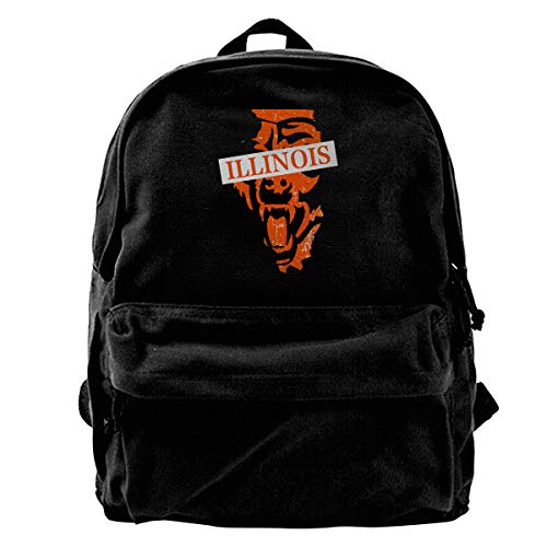 Super Star Illinois Map Chicago Football Bears Canvas Shoulder Backpack Limited Edition Premium UniqueFriday Hiking Backpack for Men & Women Teens College Travel Daypack Black