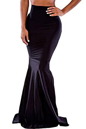Dearlovers Women Solid Black Mermaid Full Length Clubwear Party Skirts Medium Size Black