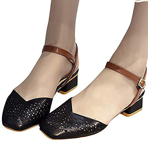 TnaIolral Women Pumps Sandals Summer Thick with Casual Hollow Belt Buckle Shoes (US:7.5, Black)