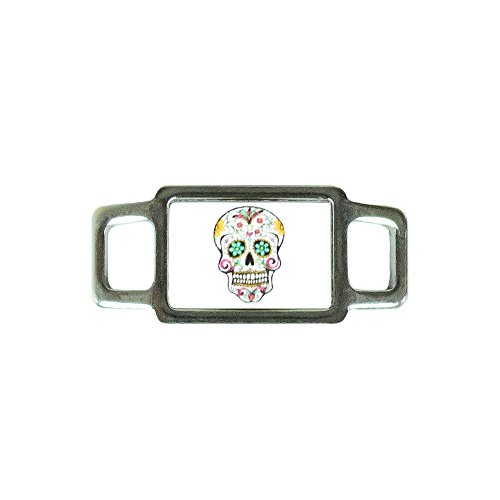 Paracord Planet Rectangle Skull Charms - Assorted Styles & Colors - Perfect For Paracord Bracelet, Necklace (Yellow Flower Skull)